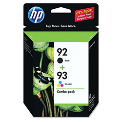 HP 92 Black and Cyan/Magenta/Yellow Ink Cartridge, Model C9513FN, Page Yield 220