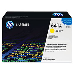 HP 641A Yellow Toner Cartridge, Model C9722A, Page Yield 8000