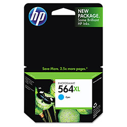 HP 564XL Cyan Ink Cartridge ,Model CB323WN ,Page Yield 750