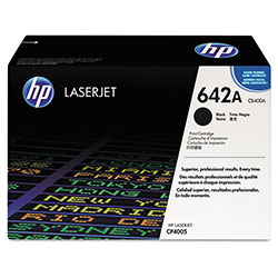 HP 642A Black Toner Cartridge, Model CB400A, Page Yield 7500