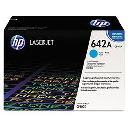 HP 642A Cyan Toner Cartridge, Model CB401A, Page Yield 7500