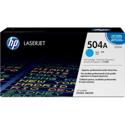 HP 504A Cyan Toner Cartridge, Model CE251AG, Page Yield 7000