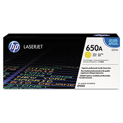 HP 650A Yellow Toner Cartridge, Model CE272A, Page Yield 13000