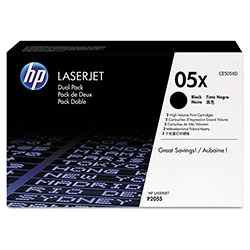 HP 05X Black Ink Cartridge, Model CE505XD, Page Yield 2x6,500