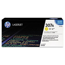 HP 307A Yellow Toner Cartridge, Model CE742A, Page Yield 5000