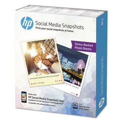 HP Social Media Snapshot Removable Sticky Photo Paper, 4x5, 11mil, White, 25 Sheets