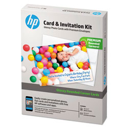 HP Card & Invitation Kit for Glossy Rounded Corner Flat Cards, 5 x 7, 25/Kit