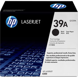 HP 39A Black Toner Cartridge, Model Q1339A, Page Yield 18000