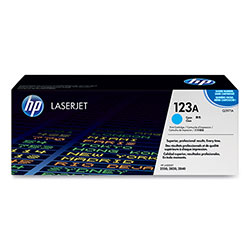 HP 123A Cyan Toner Cartridge, Model Q3971A, Page Yield 2000