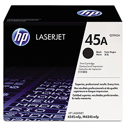 HP 45A Black Toner Cartridge, Model Q5945A, Page Yield 18000