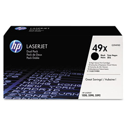 HP 49X Black Toner Cartridge, Model Q5949XD, Page Yield 2x6,000