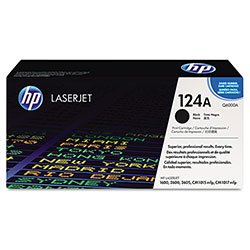 HP 124A Black Toner Cartridge, Model Q6000A, Page Yield 2500