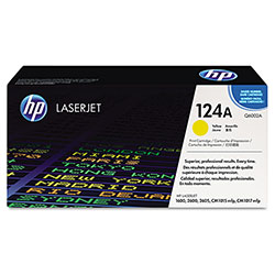 HP 124A Yellow Toner Cartridge, Model Q6002A, Page Yield 2000