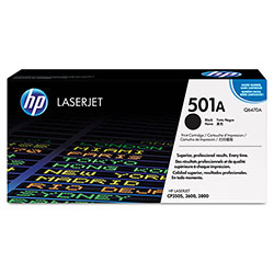 HP 501A Black Toner Cartridge, Model Q6470A, Page Yield 6000