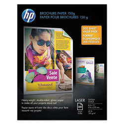 HP Heavy-Weight Laser Glossy Brochure Paper, 40lb, 8 1/2x11, White,300 Sheet/Pack