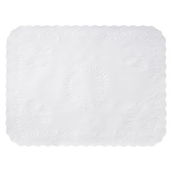 "Hoffmaster Scalloped Linen Tray Cover, 14""x19"", White"
