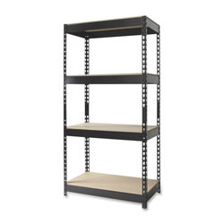 "Hirsh Open Shelf Unit, 30"" x 16"", 4 Shelves, Black"