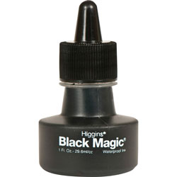 Chartpak/Pickett Higgins Black Magic Waterproof Ink, Black, 1 oz Bottle