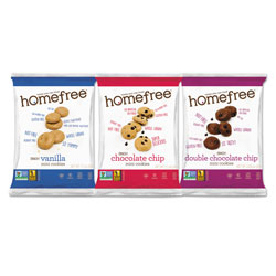 Homefree Gluten Free Mini Cookies Variety Pack, 1.1 oz/0.95 oz/1.1 oz Packs, 30/Carton