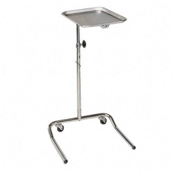 "Hausman 2181 Chrome Mayo Tray Stand w/Adjustable Height, 18 1/2"" x 24"" x 32"" - 50"""