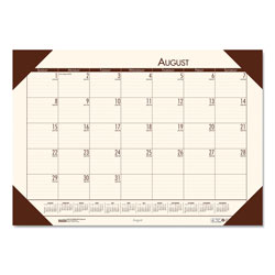 House Of Doolittle Recycled EcoTones Academic Desk Pad Calendar, 18.5x13, Brown Corners, 2017-2018