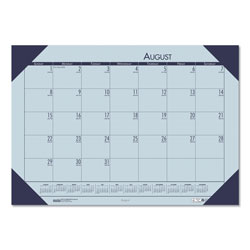 House Of Doolittle Academic Desk Pad Calendar, 18-1/2 x 13, Lilac Sheets/Cordovan Corners