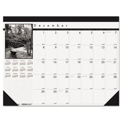 House Of Doolittle Recycled Black-and-White Photo Monthly Desk Pad Calendar, 18 1/2 x 13, 2016-2017
