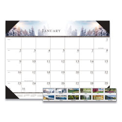 House Of Doolittle Recycled One-Color Photo Monthly Desk Pad Calendar, 22 x 17, 2018