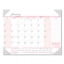 House Of Doolittle Breast Cancer Awareness Desk Pad Calendar, Monthly, 18-1/2 x 13