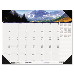 House Of Doolittle Recycled Mountains of the World Photo Monthly Desk Pad Calendar, 18.5 x 13, 2017