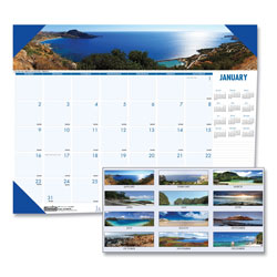 House Of Doolittle Recycled Coastlines Photographic Monthly Desk Pad Calendar, 22 x 17, 2018