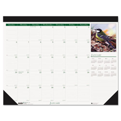 House Of Doolittle Recycled Wild Birds Photographic Monthly Desk Pad Calendar, 22 x 17, 2017