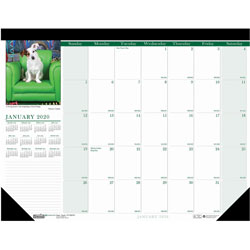 "House Of Doolittle Puppies Black Monthly Desk Pad Calendar, Nonrefillable, 22"" x 17"""
