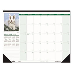 House Of Doolittle Recycled Puppies Photographic Monthly Desk Pad Calendar, 18 1/2 x 13, 2017