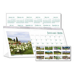 House Of Doolittle Recycled Garden Photos Desk Tent Monthly Calendar, 8 1/2 x 4 1/2, 2017