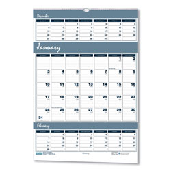 House Of Doolittle Recycled Bar Harbor Three-Months-per-Page Wall Calendar, 15 1/2 x 22, 2016-2018