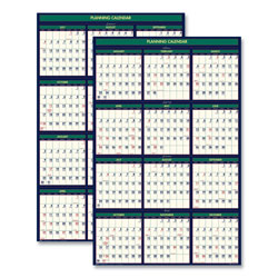 House Of Doolittle Poster Style Paper Reversible Academic/Fiscal Wall Calendar, 24x37, 4 Color