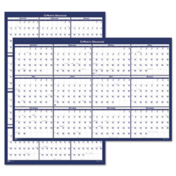 "Laminated Poster Style Reversible/Erasable Yearly Wall Calendar, 32"" x 48"""