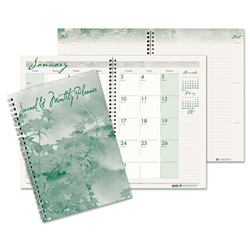 "House Of Doolittle Monthly Planner/Daily Journal, 1 Month/Spread, Hard Cover, 7"" x 10"", Green/Cream"