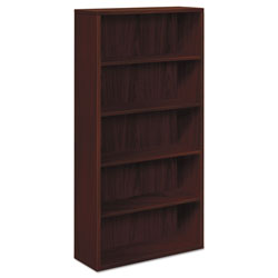 Hon 10500 Series Bookcase, 5 Shelves, 36w x 13-1/8d x 71h, Mahogany