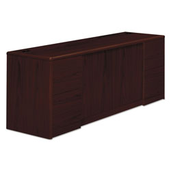 Hon 10700 Series Credenza with Doors & File Pedestals, Mahogany, 72 x 24