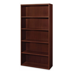 "Hon Attune Laminate Series 5-shelf Bookcases, 36"" x 13-1/8x71"", Mahogany"