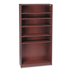 "Hon Laminate Bookcase with Radius Edge, 6 Shelf, 36""x72 5/8"", Mahogany"