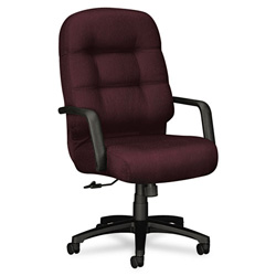 Hon 2090 Pillow-Soft Executive High-Back Swivel/Tilt Chair, Wine Fabric/Black Base
