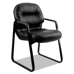 Hon Leather 2090 Pillow-Soft Series Guest Arm Chair, Black