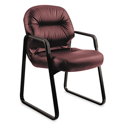 Hon Leather 2090 Pillow Soft Series Guest Arm Chair, Burgundy