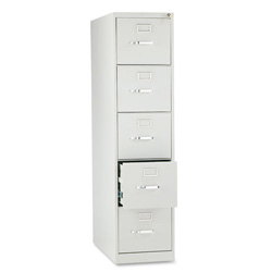 "Hon 210 Series 28 1/2"" Deep Full Suspension File, Five Drawer, Letter, Light Gray"