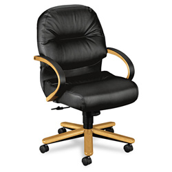 Hon 2190 Pillow-Soft Wood Series Mid-Back Chair, Harvest/Black Leather