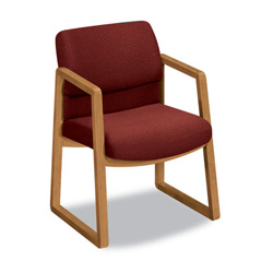 Hon 2400 Series Guest Arm Chair, Harvest Finish, Burgundy Fabric