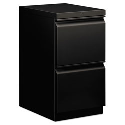 Hon Efficiencies Mobile Pedestal File, Two File Drawers, 19 7/8d, Black